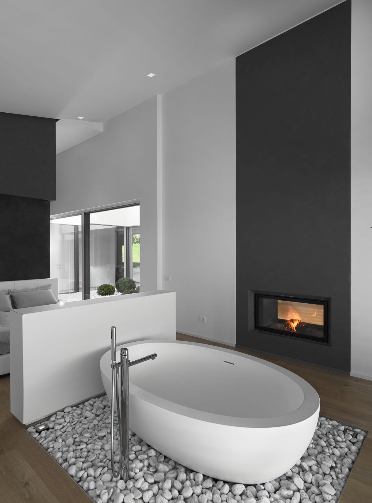 Cozy up the bedroom with a gas fireplace