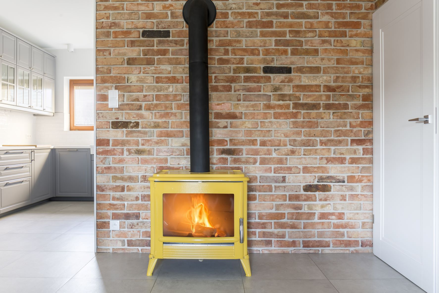 gas fireplace modern lines
